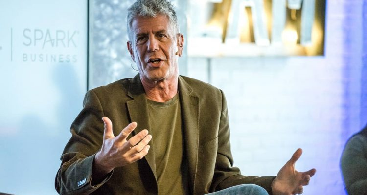 Photo of Anthony Bourdain during an interview