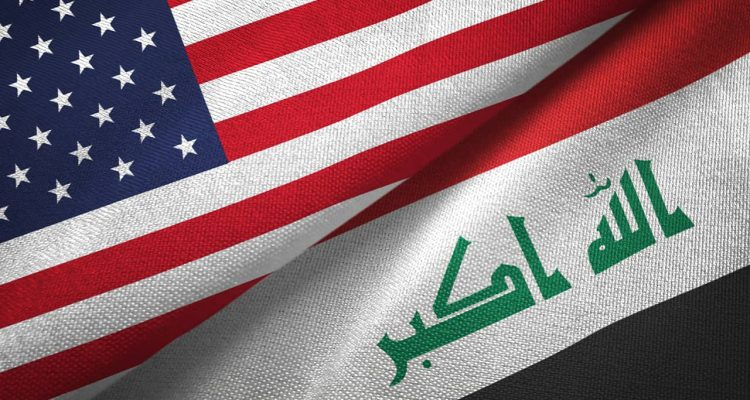 Photo combination of American flag and Iraq flag
