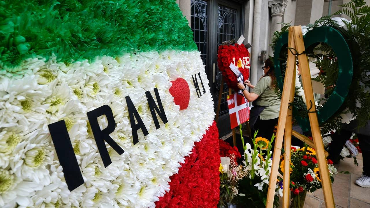 Photo of flower arrangements at Michael Jackson memorial