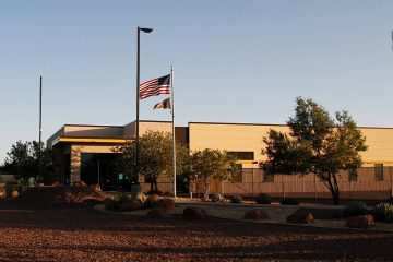 Photo of the entrance to a Border Patrol station in Clint, Tx.