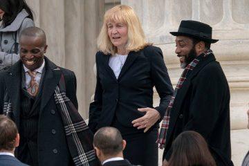 Photo of Attorney Sheri Johnson leaving Supreme Court