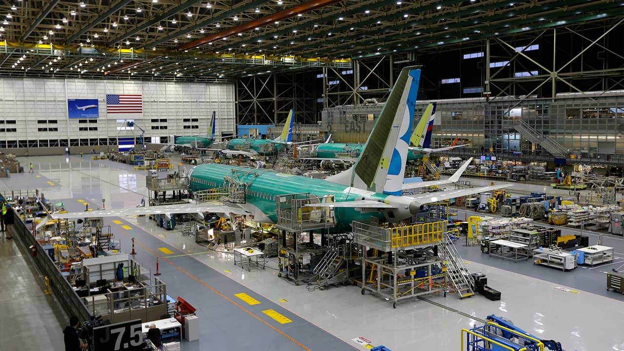 Photo of the second Boeing 737 MAX airplane being built on the assembly line in 2015