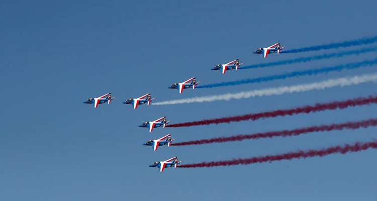 Photo of Alpha jets flying during the Paris Air Show