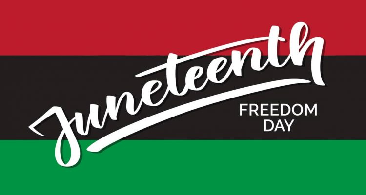 "Red, black and green banner with the words ""Juneteenth Freedom Day""Blac"