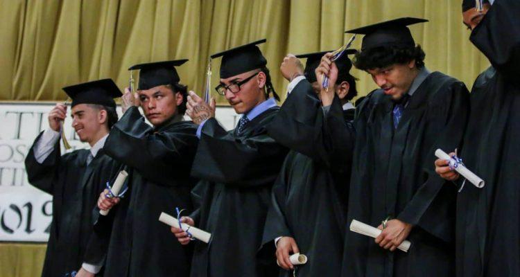 Photo of high school students graduating