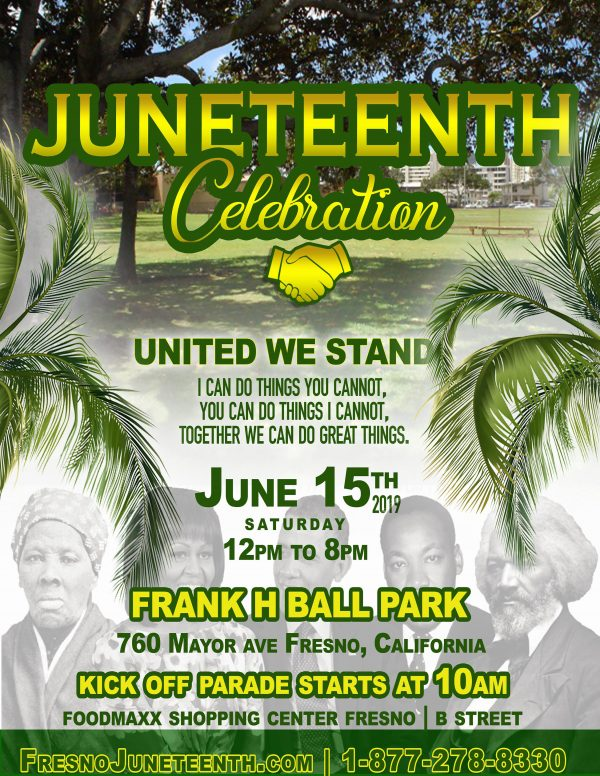 Flyer of the Fresno Juneteenth celebration on Saturday, June 15ySaturday,