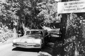 Photo of the roadway leading into Bohemian Grove in Monte Rio, Ca.