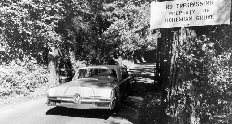 Photo of the roadway leading into Bohemian Grove in Monte Rio, Ca.