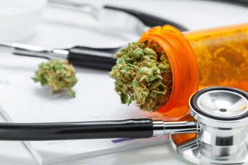 Photo of stethoscope and marijuana