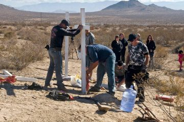 Photo of crosses near the graves where the McStay family was found in Victorville, Ca.