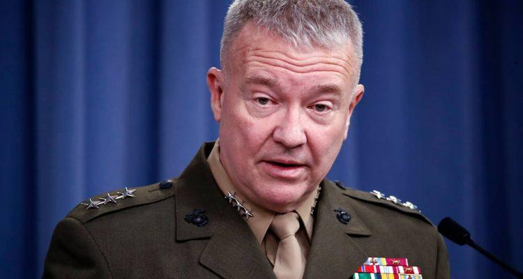 """Photo of Lt. Gen. Kenneth """"Frank"""" McKenzie speaking at the Pentagon"""