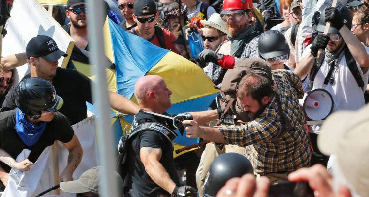 Photo of white nationalist demonstrators clashing with counter demonstrators