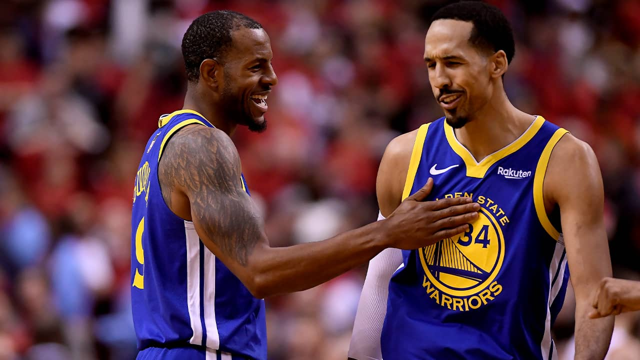 Photo of Andre Iguodala and Shaun Livingston of the Golden State Warriors
