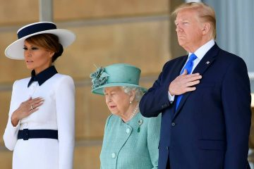 Photo of President Donald Trump, First Lady Melania Trump, and Queen Elizabeth II