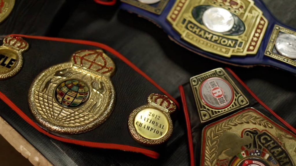 Photo of Marc Castro's championship boxing belts.