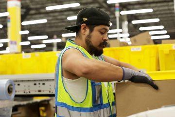 Photo of an employee at Amazon's fulfillment center in Fresno, California
