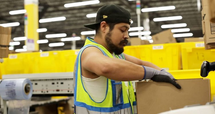 Photo of an employee at Amazon's fulfillment center in Fresno, California