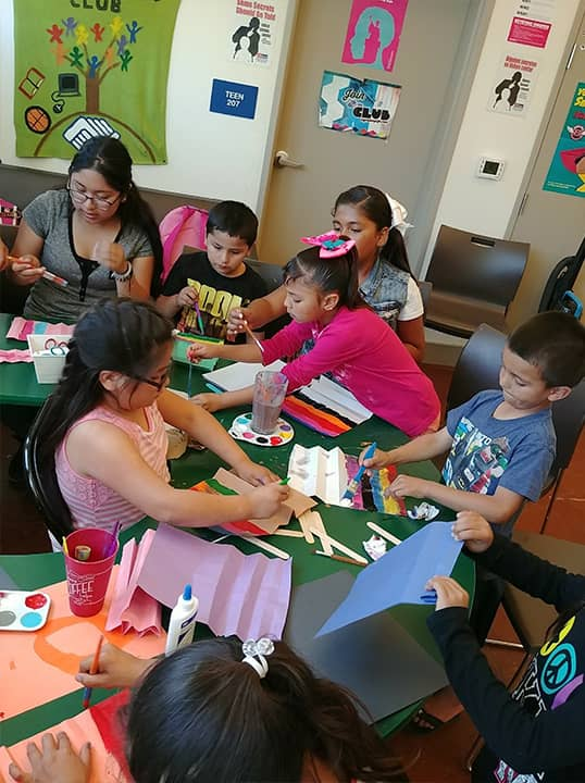 Photo of Mendota Boys and Girls Club members doing arts and crafts