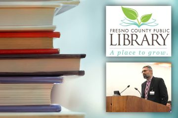 Composite of new Fresno County Librarian Raman Bath, books and the library logo