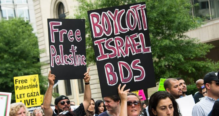 Photo of demonstrators in Washington, D.C., urging a boycott of Israel