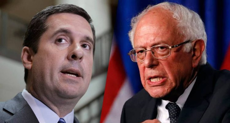 Composite of Devin Nunes and Bernie Sanders