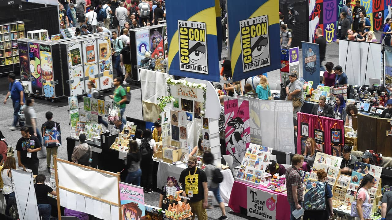 Photo of booths at San Diego Comic-Con
