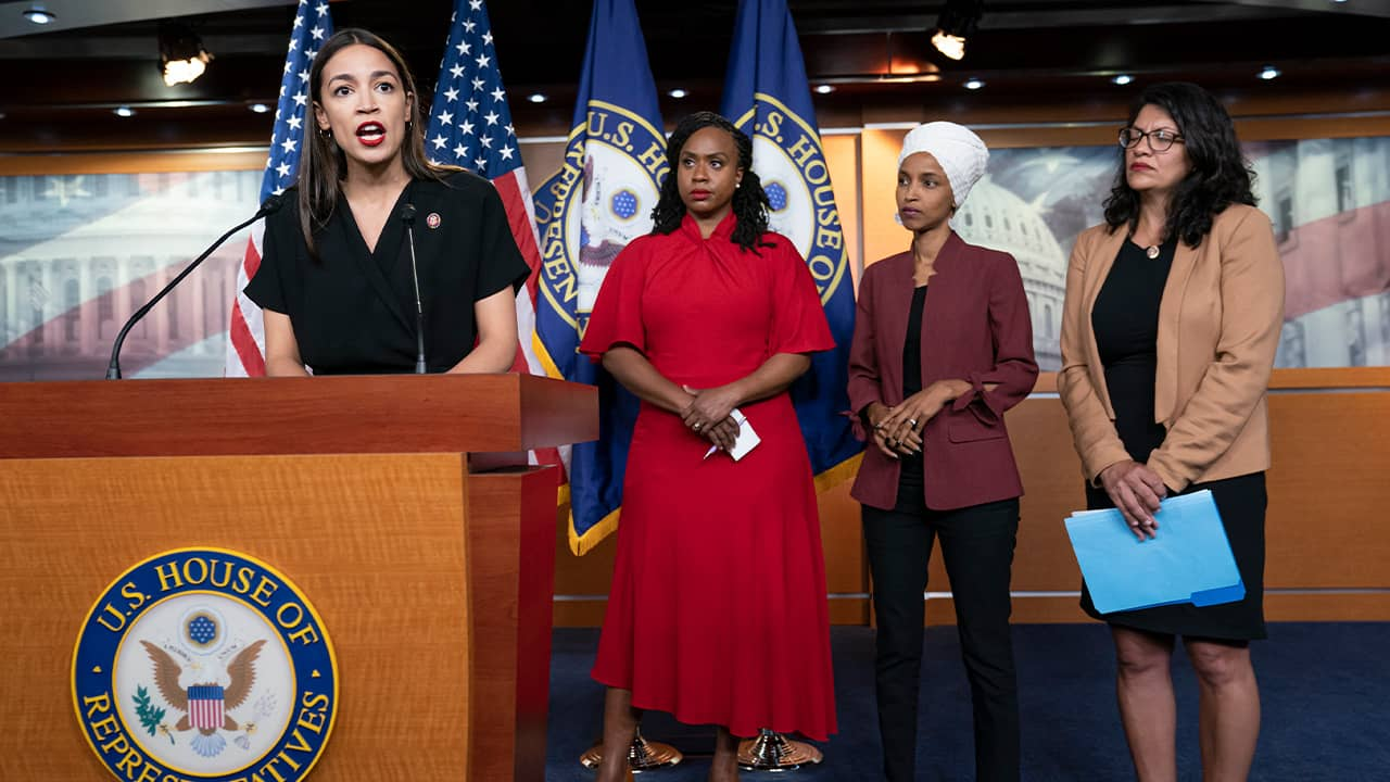 Photo of Rep. Alexandria Ocasio-Cortez, D-N.Y., Rep. Ayanna Pressley, D-Mass., Rep. Ilhan Omar, D-Minn., and Rep. Rashida Tlaib, D-Mich.