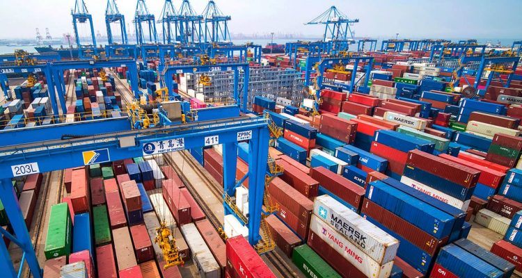 Photo of containers at a port in China