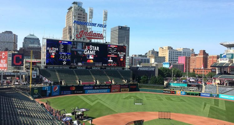 Photo of scoreboard at MLB All-Star Game in Cleveland