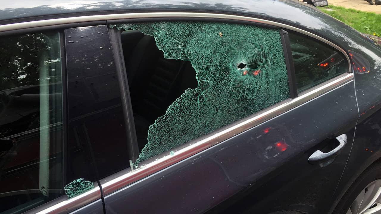 Photo of a broken car window