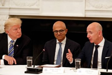 Photo of President Donald Trump, Satya Nadella, and Jeff Bezos