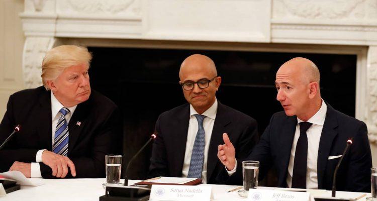 Photo of President Donald Trump, Satya Nadella, and Jeff Bezos