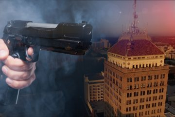 Composite photo of a handgun and downtown Fresno