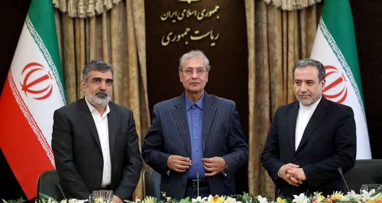 Photo of Behrouz Kamalvandi, Ali Rabiei, and Abbas Araghchi during a press briefing in Tehran, Iran