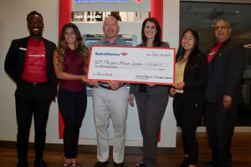 Photo of Bank of America's $10,000 grant to the Marjaree Mason CenterOf