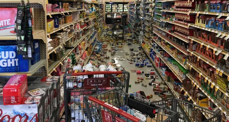 Photo of grocery store merchandise knocked off shelves following Fourth of July earthquake in California
