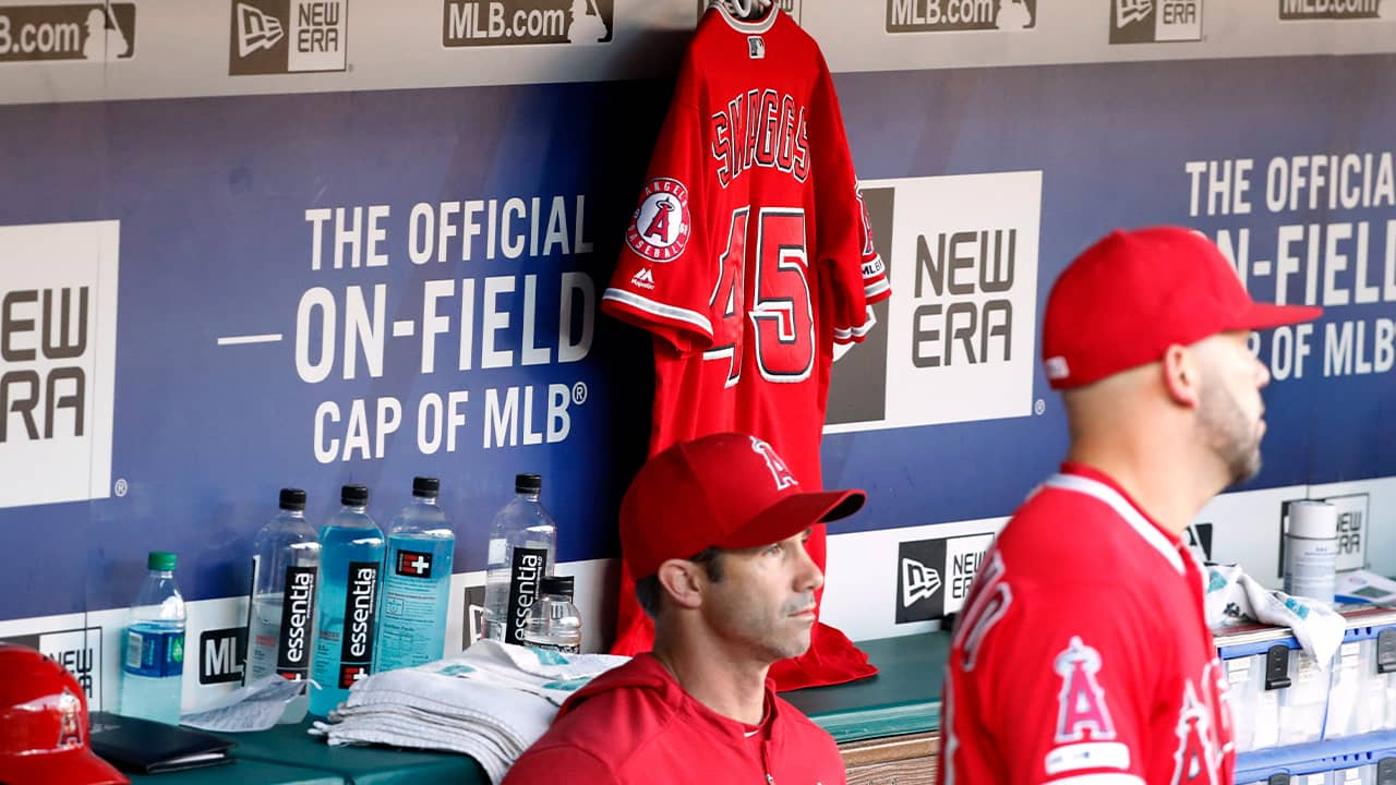 Photo of Angels dugout with Tyler Skaggs jersey