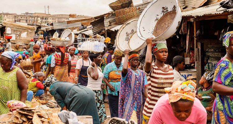 Photo of African market in Ghana