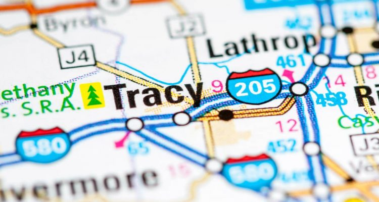 Photo of map showing Tracy, CA