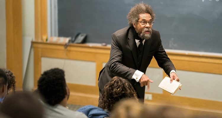 Photo of Cornel West lecturing in a classroom at Dartmouth University