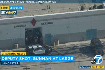 Photo of the outside of LA County sheriff's station in Lancaster