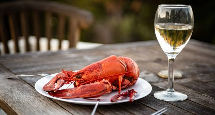 Photo of lobster and wine on a table