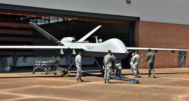 Photo of an MQ-9 Reaper drone undergoing maintenance