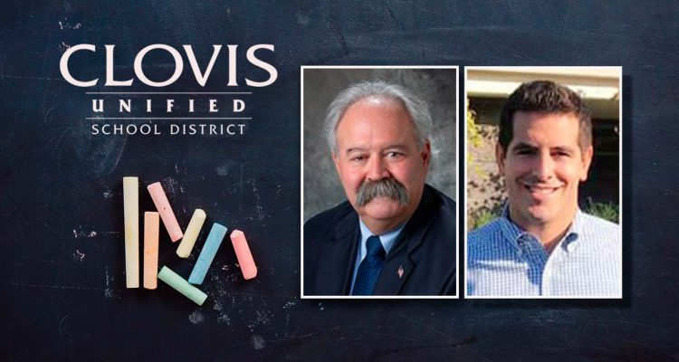 Composite of Clovis Unified logo, trustee Brian Heryford and trustee candidate Jonathan Holt