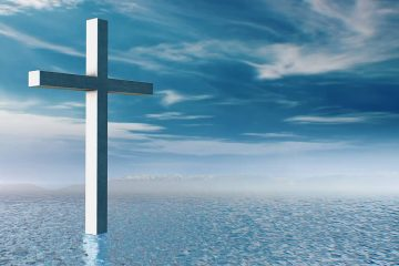 Composite illustration of a cross, blue water, and blue sky with cloudsPhot