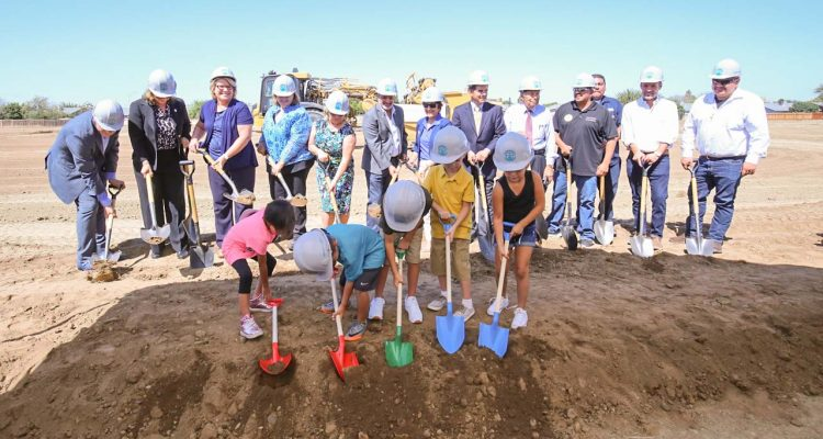 Photo of Mendota Unified children participating in the AMOR groundbreaking
