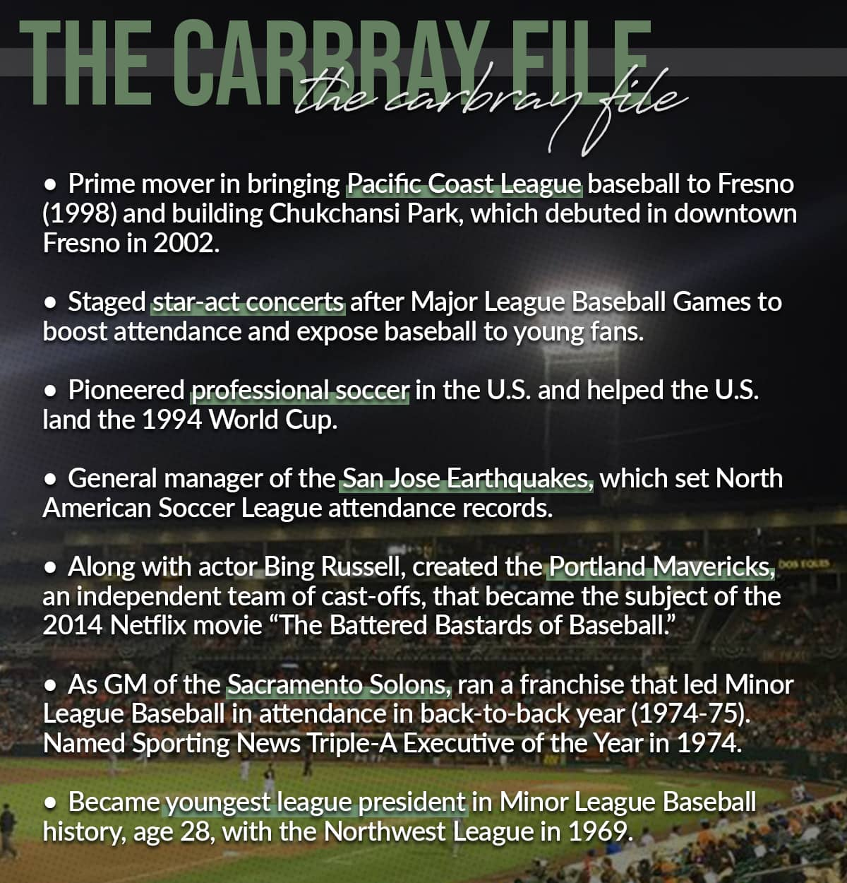 Graphic of highlights of John Carbray's career