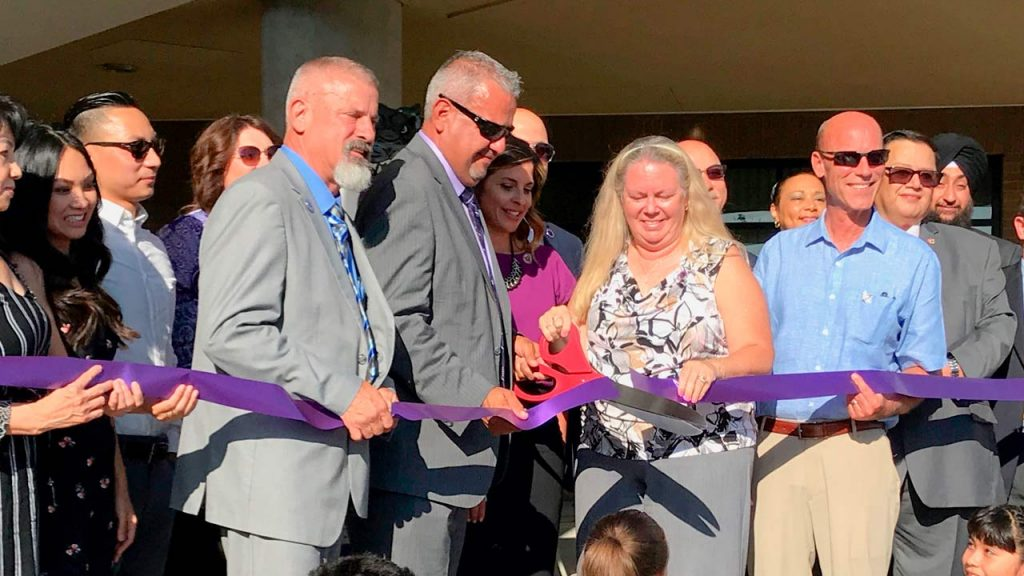 Photo of ribbon-cutting at Tilley Elementary School
