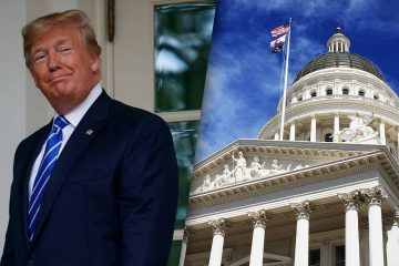 Composite of President Donald Trump and the California Capitol