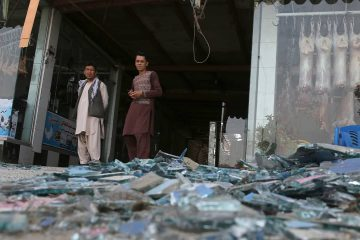 Photo of a damaged shop in Kabul